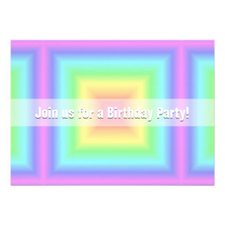 Funky Retro Bright Pastel Rainbow Geometric Blur Personalized Invites