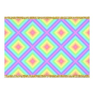 Funky Retro Bright Pastel Rainbow Geometric Blur Personalized Invitations