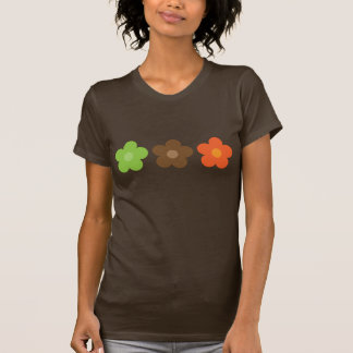 Funky Retro Brown Orange & Green Cartoon Flowers T-Shirt