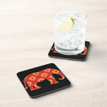 Funky Retro Circles Elephant Beverage Coaster