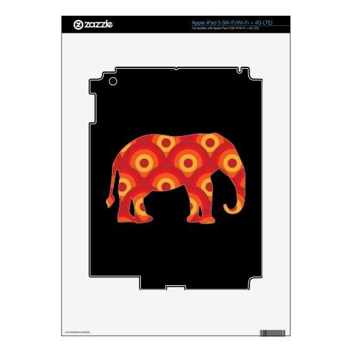 Funky Retro Circles Elephant iPad 3 Skins