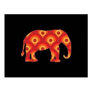Funky Retro Circles Elephant Postcard