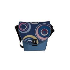 Funky Retro Circles Messenger Bag at Zazzle