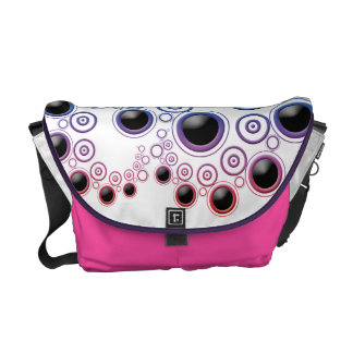 Funky Retro Circles Pattern in Rainbow Colors Courier Bag