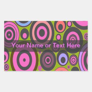 Funky Retro Circles with Text Banner Sticker Rectangular Sticker