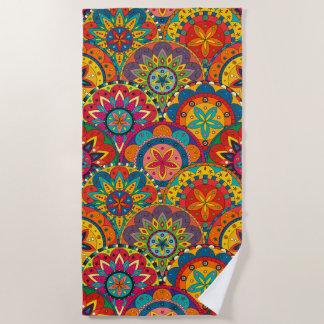 Funky Retro Colorful Mandala Pattern Beach Towel