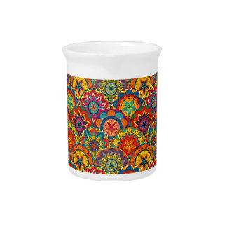 Funky Retro Colorful Mandala Pattern Beverage Pitcher