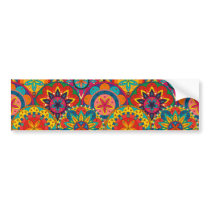 Funky Retro Colorful Mandala Pattern Bumper Sticker