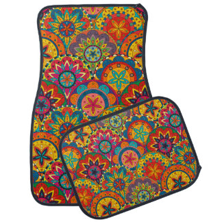 Funky Retro Colorful Mandala Pattern Car Floor Mat