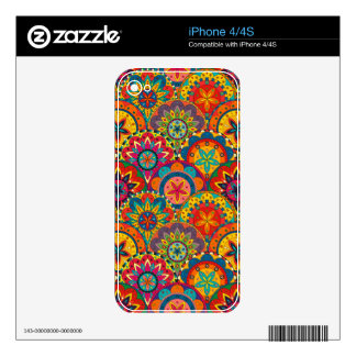 Funky Retro Colorful Mandala Pattern Decals For iPhone 4S