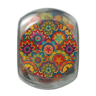 Funky Retro Colorful Mandala Pattern Glass Jars