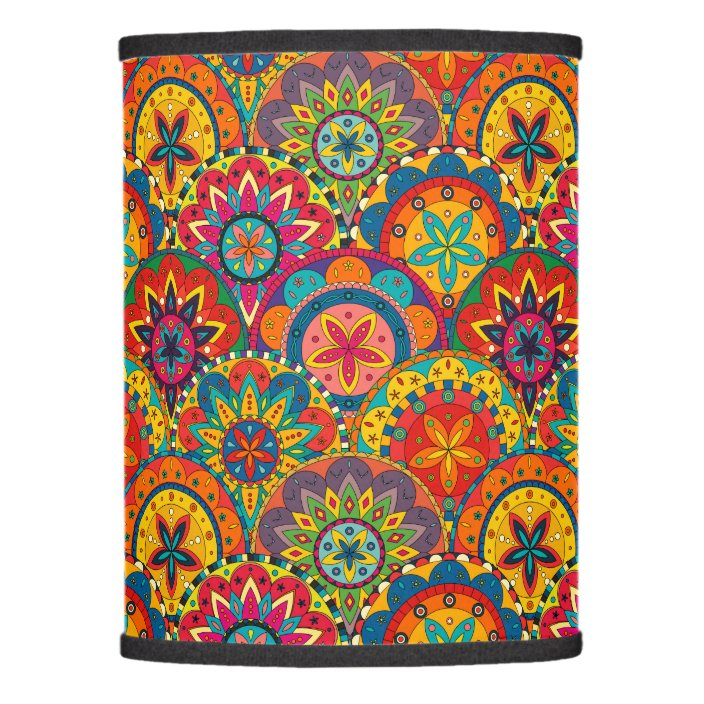 Funky Retro Colorful Mandala Pattern Lamp Shade Zazzle Com