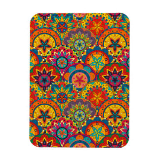 Funky Retro Colorful Mandala Pattern Magnet