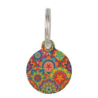 Funky Retro Colorful Mandala Pattern Pet ID Tag
