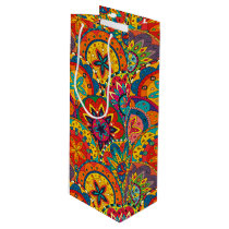 Funky Retro Colorful Mandala Pattern Wine Gift Bag