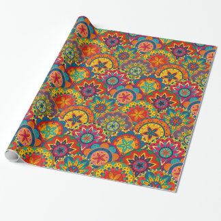 Funky Retro Colorful Mandala Pattern Wrapping Paper