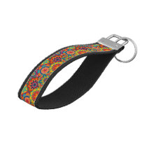 Funky Retro Colorful Mandala Pattern Wrist Keychain