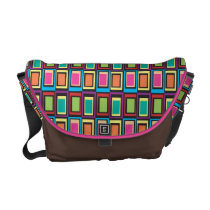 funky retro colorful pattern courier bag