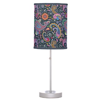 Funky Retro Colorful Vintage Paisley Table Lamp