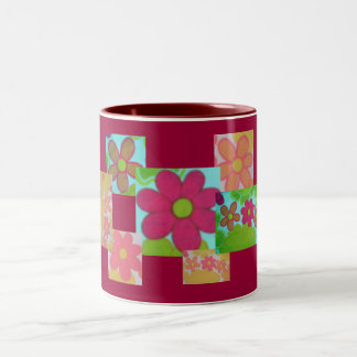 Funky Retro Cropped Flower's Two-Tone Coffee Mug