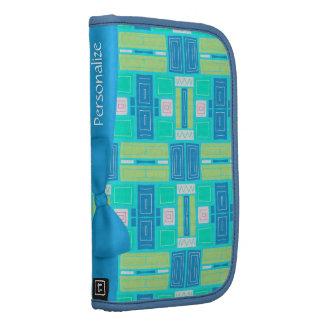 Funky Retro Design Personalized Blue Ribbon Folio Folio Planners