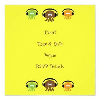 Funky Retro DJ Jellyfish Yellow Custom Party Card