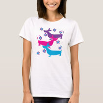 Funky retro floral basset hound dogs t-shirt