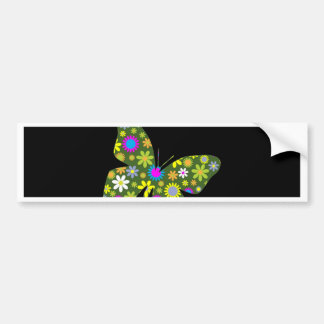 funky retro floral butterfly beauty peace and joy bumper sticker