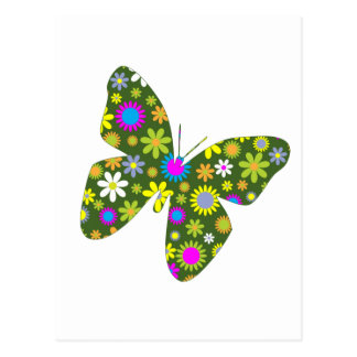 funky retro floral butterfly beauty peace and joy postcard