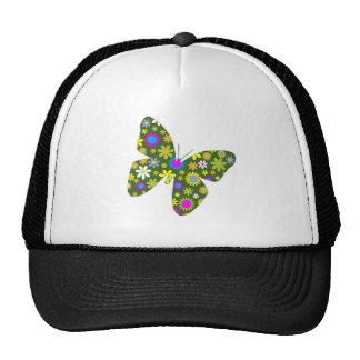 funky retro floral butterfly beauty peace and joy trucker hat
