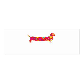 Funky retro floral cartoon dachshund dog blank mini business card