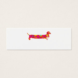 Funky retro floral cartoon dachshund dog blank mini business card