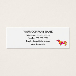 Funky retro floral cute dachshund dog custom mini business card