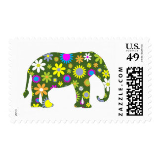 Funky Retro Floral Elephant Stamp
