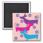 Funky retro floral fun basset hound dog magnet