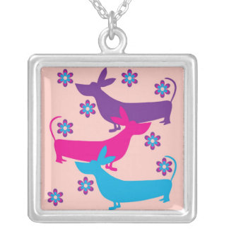 Funky retro floral fun basset hound dog necklace