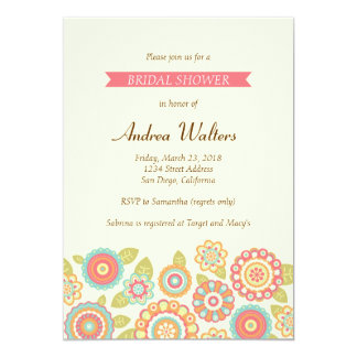 Funky Retro Flowers Bridal Shower Party Invitation