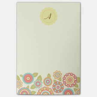 Funky Retro Flowers Monogram Post-it® Notes