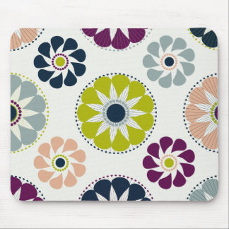 Funky Retro Flowers Mouse Pad