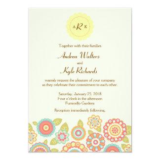 Funky Retro Flowers Wedding Invitation