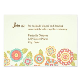 Funky Retro Flowers Wedding Reception Card