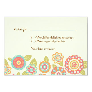 Funky Retro Flowers Wedding RSVP Card