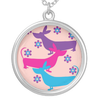 Funky retro fun colorful basset hound dog necklace