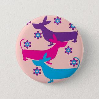 Funky retro fun floral basset hound dog button