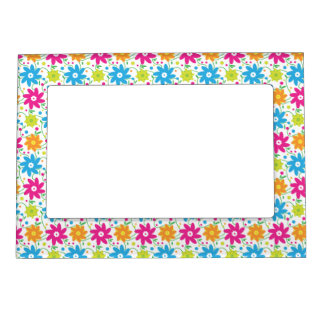 Funky Retro Fun Pink Green and Blue Flower Power Magnetic Frame