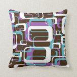 Funky Retro Geometric Pattern Throw Pillow
