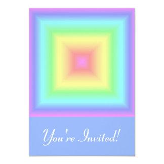 "Funky Retro Girly Bright Pastel Rainbow Blur 5"" X 7"" Invitation Card"