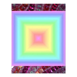 Funky Retro Girly Bright Pastel Rainbow Blur Custom Announcement