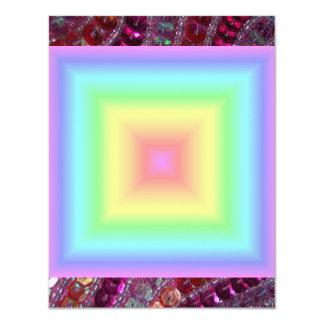 "Funky Retro Girly Bright Pastel Rainbow Blur 4.25"" X 5.5"" Invitation Card"