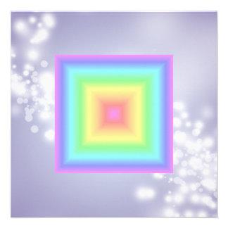 Funky Retro Girly Bright Pastel Rainbow Blur Announcement